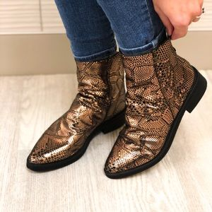 Free People Amarone Metallic Snakeskin Ankle Boots